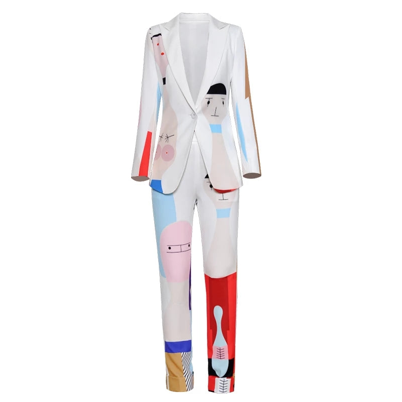 New Designer Runway Two-piece One Button Abstract Art Dye Women Suit