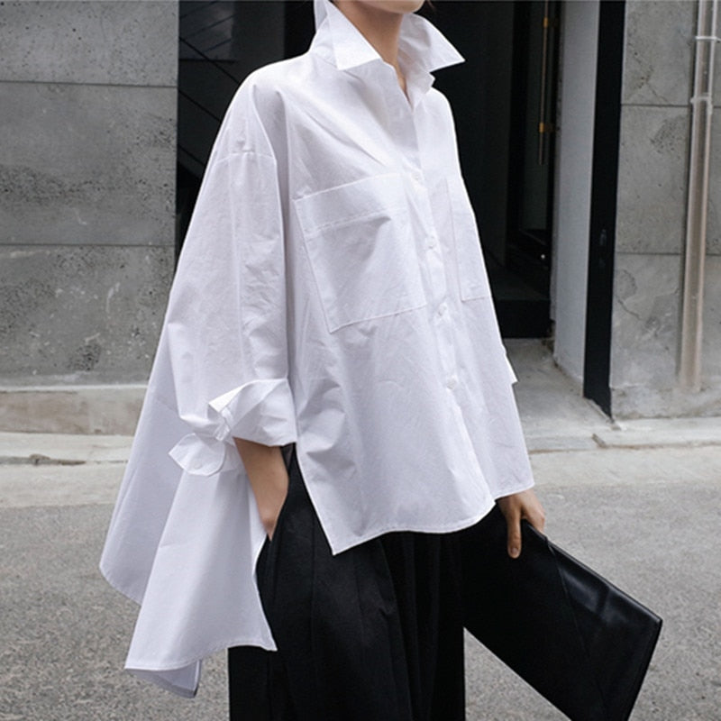 New Lapel Long Sleeve Long Loose Irregular Blouse