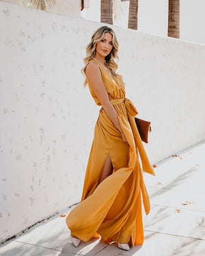Long Sleeveless Split Lace Up Pleated Elegant Boho Dress