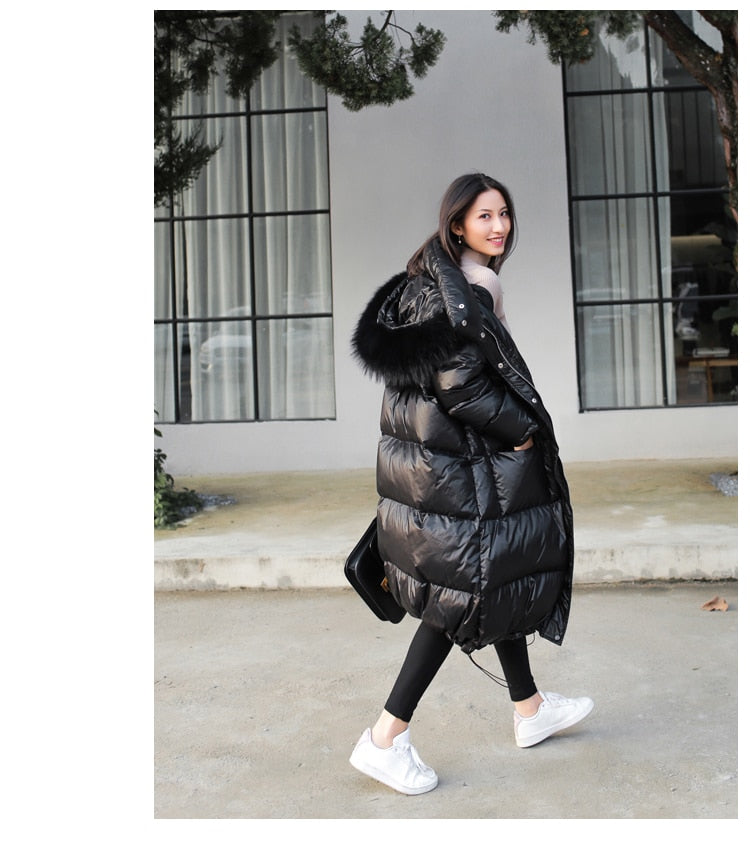 Loose Faux Fur Collar Long Waterproof Padded Windproof Down Coat