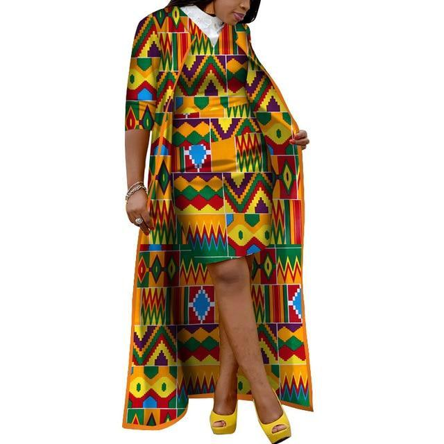 African Dashiki X-Long Coat and Skirt Africa Clothing Women Set