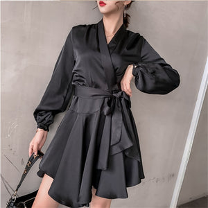 New 2019 Bow V-Neck Long Sleeve High Fashion Casual Dress