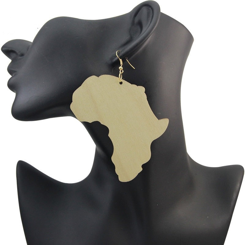Unfinished African Wooden Drop With AFRO Motherland Map Handmade Ethnic Tribal Ear Jewelry For Black Women
