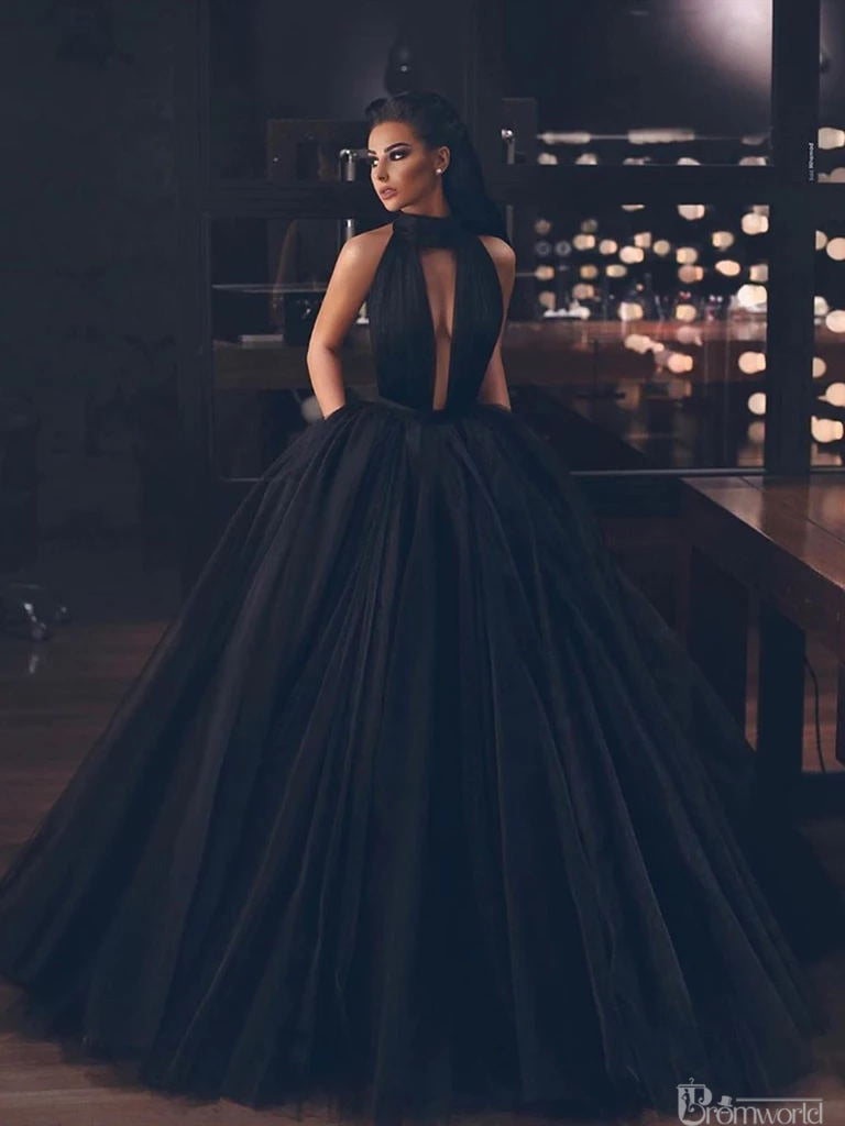 Backless Tulle Floor Length  Long Formal Puffy Dress
