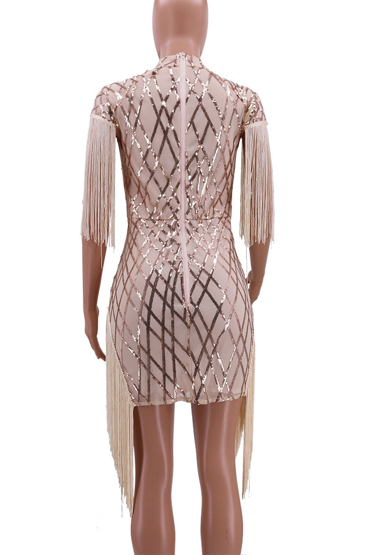 Sexy Sheer Sequins Bodycon Mini Elegant Short Sleeve Tassel Dress