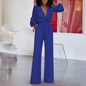 Sexy Solid Colo Print Strap V-Neck Straight Jumpsuit