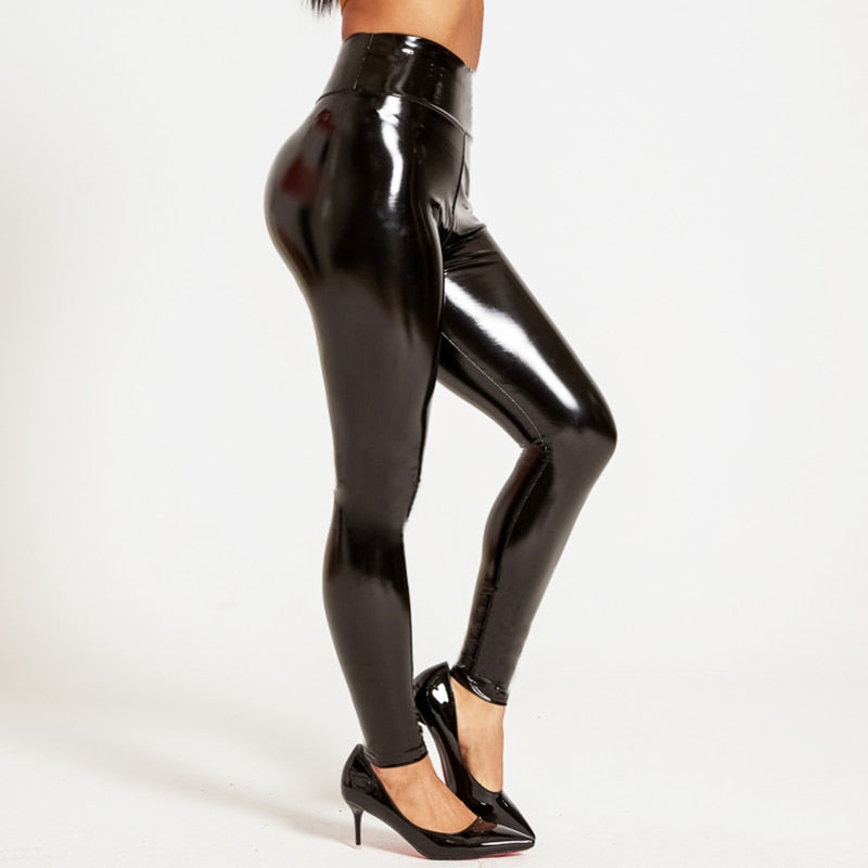 Leather High Waist Sexy Elastic Skinny Push Up Stretch Leggings