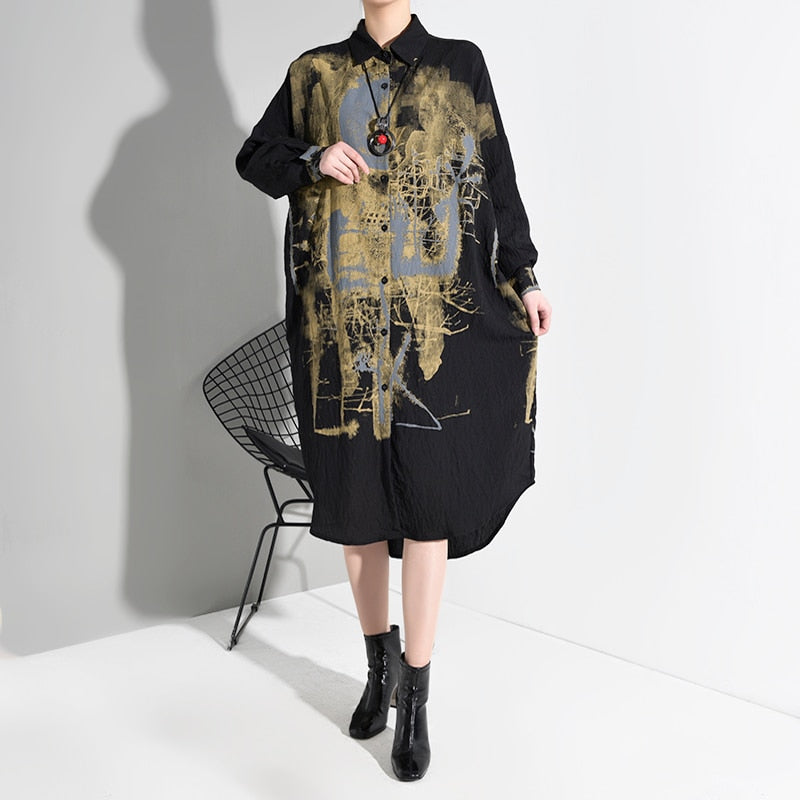 Black Patter Print Split Big Size Lapel Long Sleeve Loose Fit Shirt Dress