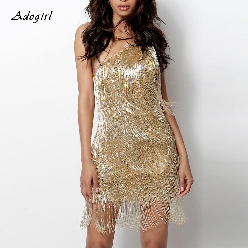 Sexy Gatsby Elegant Tassel One Shoulder Sleeveless Bodycon Mini Glittery Party Dress