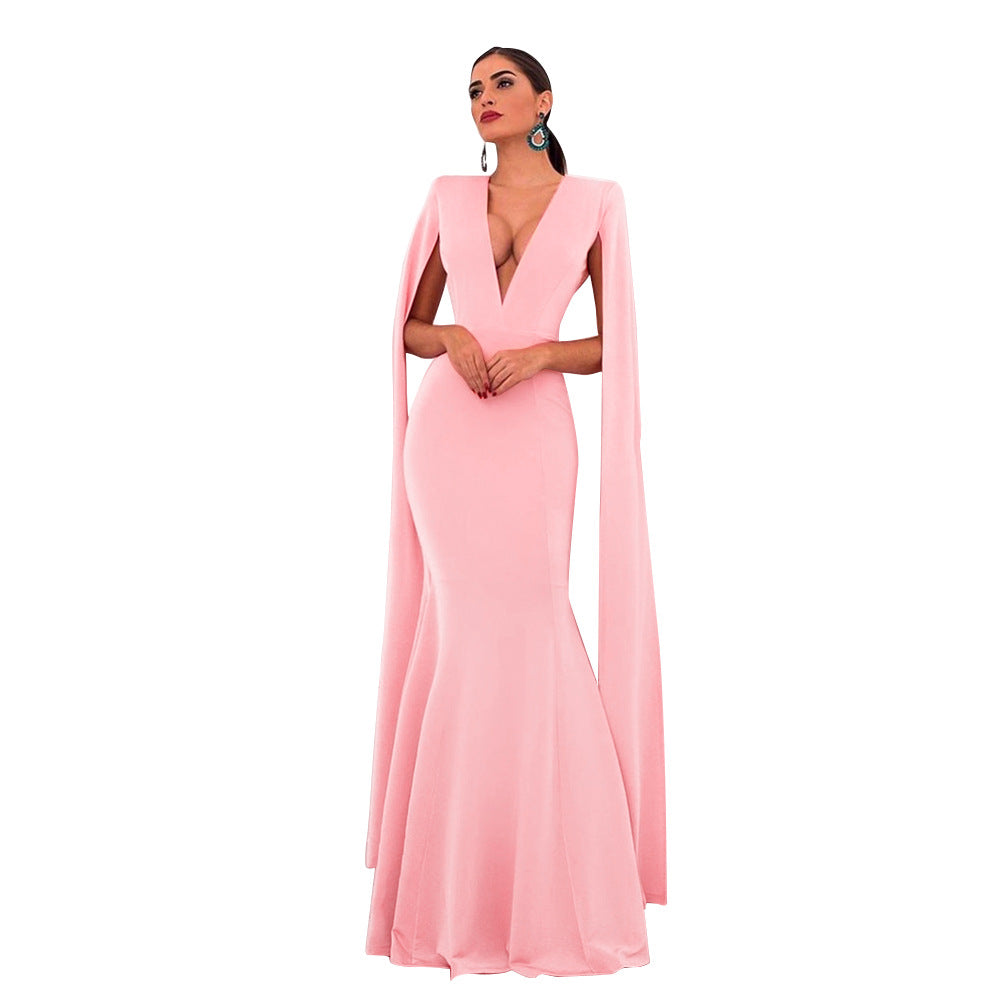 Long Banquet Mermaid Backless Elegant Empire Bodycon Formal Sheer Maxi Dress