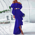 Sexy Off the Shoulder Long Sleeve Asymmetrical Ruffles Long Dress
