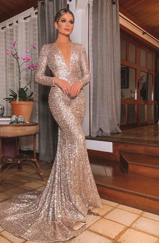 Elegant Long Sequin Long Sleeve  Reflective Dress