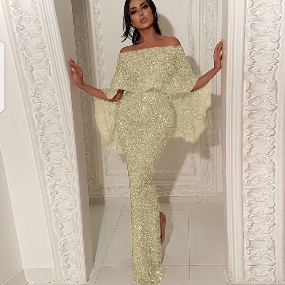 Shiny Elegant Sequin Off Shoulder Bodycon High Waist Zipper Back Solid Ruffles Sleeve Dress
