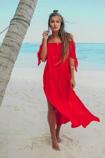 Sexy Ruffle Off Shoulder See-through Chiffon Maxi Dress