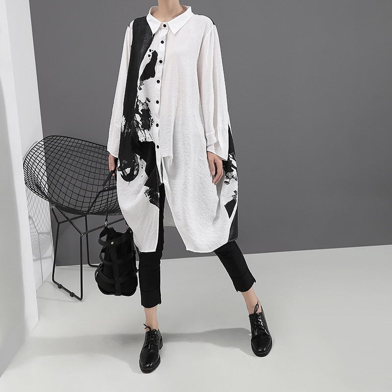 Print Big Size Oversize New Lapel Long Sleeve Loose Fit Dress