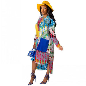 Floral Print Casual Office Boho African Printed Long Sleeve Shirt Dress