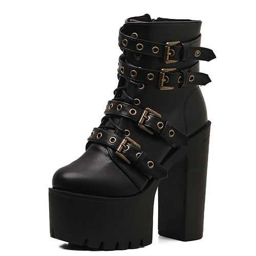 Sexy Rivet Black Ankle Platform Soft Leather Ultra High Heel Boots With Zippers