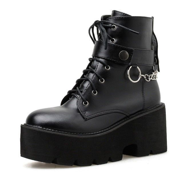 New Sexy Chain Leather Autumn Block Heel Gothic Black Punk Style Platform Boots