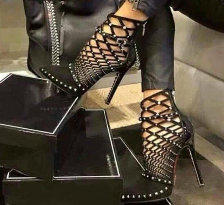Gladiator Roman Sandals Rivet Studded Cut Out Caged Ankle Stiletto High Heel Sexy Shoe Boots