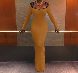 Square Neck Long Sleeve Bodycon Maxi Stretch Slim Fit Solid Dress