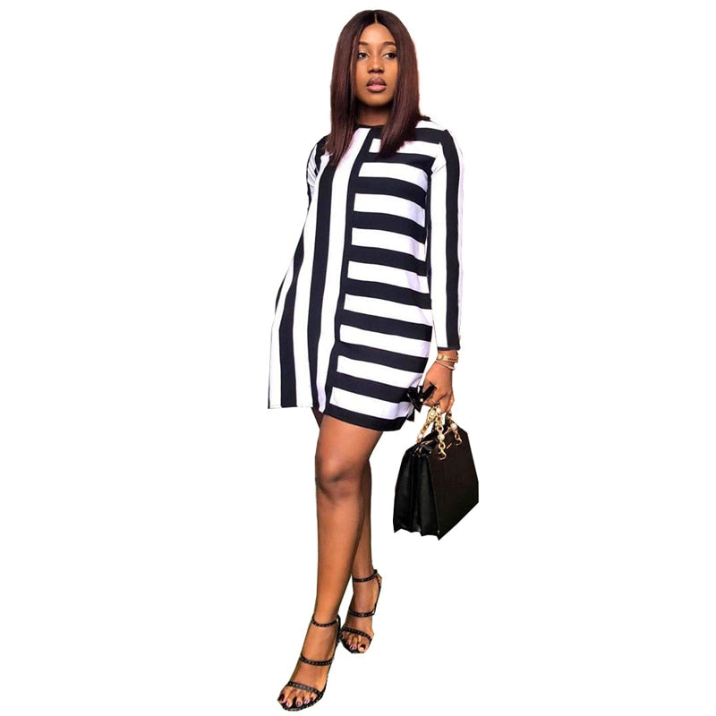 Striped Shirt Round Neck Long Sleeve Mini Causal Dress