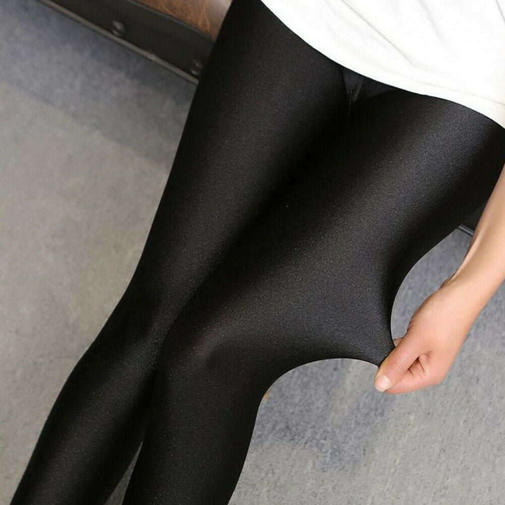 Hot Solid Sexy Shiny Black Thin Elastic High Waist Stretch Skinny Leggings Slim Fit Pants