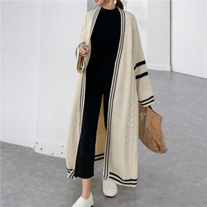 Big Size Knitted Cardigan Loose Fit V-Neck Long Sleeve Sweater