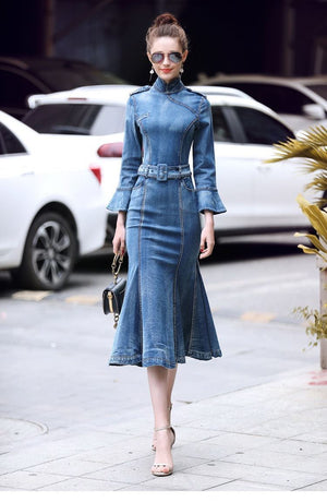 Vintage Elegant Bodycon Long Denim Sexy Ruffle Trumpet Dress