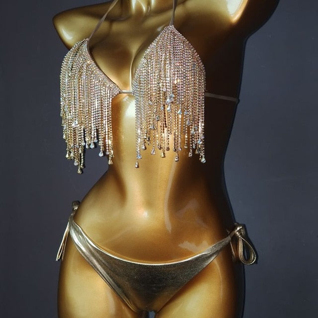 Venus Vacation  Sexy Diamond Rhinestone Tassels Swimwear