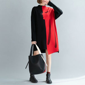 Knitted Vintage Turtleneck Long Sleeve Oversized Loose Casual Sweater Dress