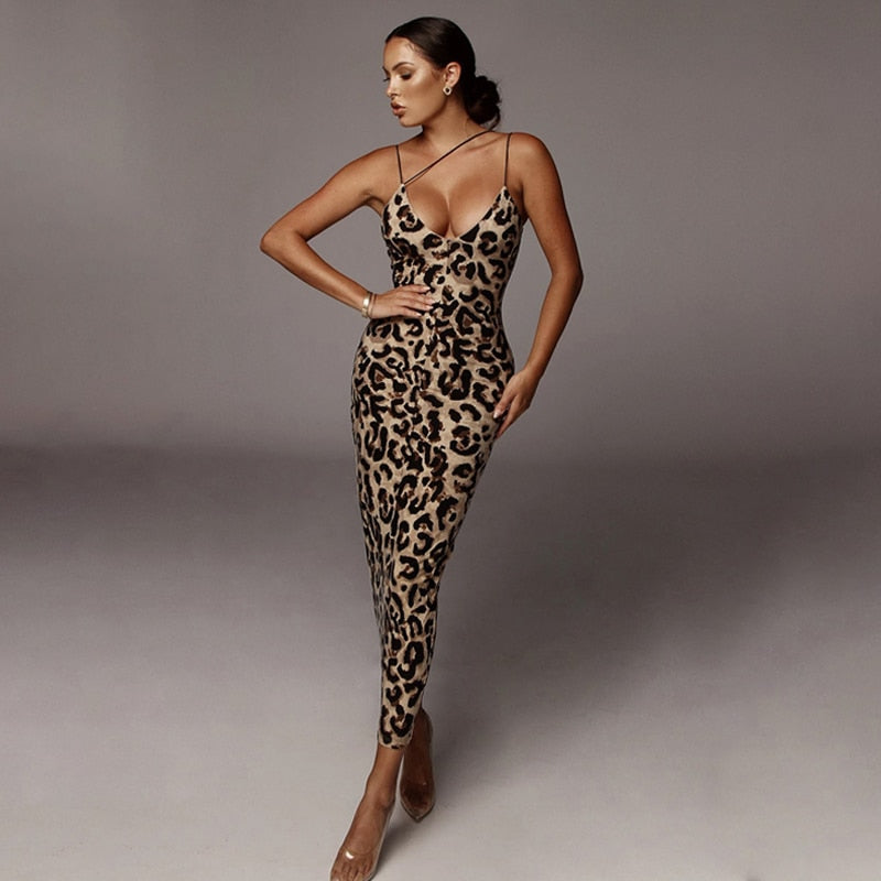 Sexy V-neck Sleeveless Animal Print Spaghetti Strapped Midi Dress