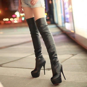 PU Sexy Over The Knee Long Thin High Heel Platform Boots