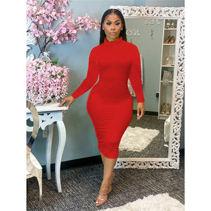 Sexy Bodycon Midi Long Sleeve Solid High Neck Casual Pencil Dress