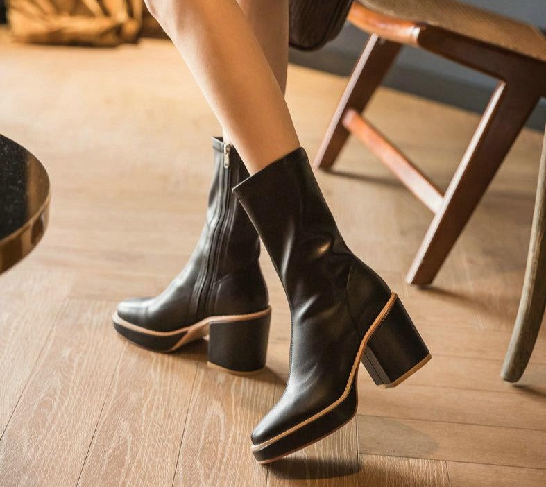 Cow Leather Ankle Boots Round Toe All Match Heel Zipper Boots