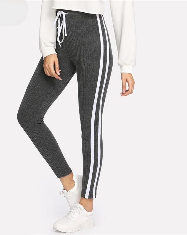 Drawstring Waist Striped Side Seam Ribbed Knit Sweatpants