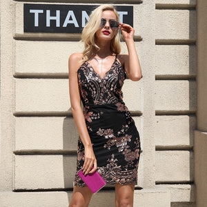 Sexy Strap Backless Mini  V-neck Sequin Dress