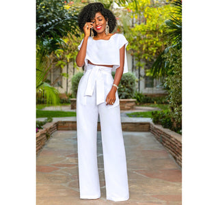 Cropped Top Wide Legs Pants Set Short Sleeves High Waist Tie Two Pieces