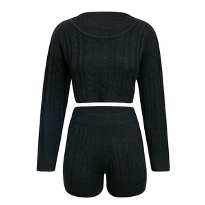 Knitted Two-piece Solid Sexy Crop Long Sleeve Top Short Jumpsuit Romper