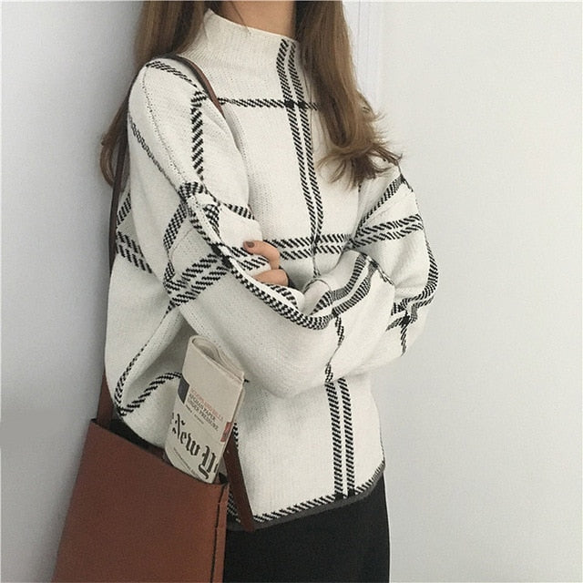 Plaid Pullover  Women Elegant Knitted Turtleneck Long Sleeve Sweater