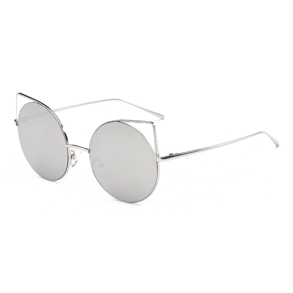 Women Retro Metal Round Cat Eye Mirrored UV Protection Fashion Sunglasses