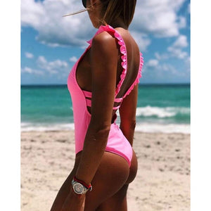 Off Shoulder Print Solid Ruffle Backless Monokini Swimwear