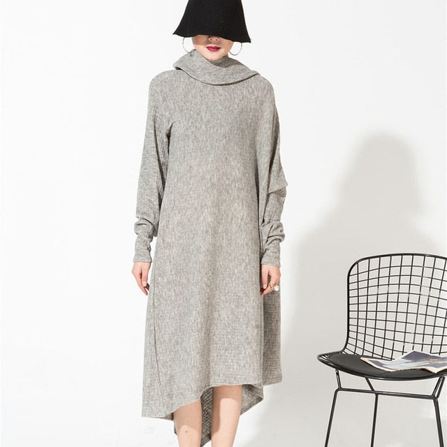 Gray Asymmetrical Collar Irregular Hem Loose Long Knitted Dress