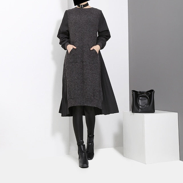 Round Neck Long Sleeve Back Pleated Split Joint Irregular Loose Dress