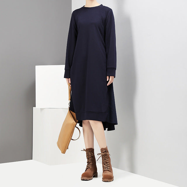 Solid Color Round Neck Long Sleeve Back Split Joint Irregular Hollow Out Dress