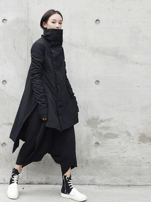 Stand Lead Irregular Long Type Cotton-padded Loose Coat Solid Black Jacket