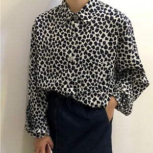 Retro Loose Leopard Print Casual Long Sleeve Turn Down Collar Blouse Shirt