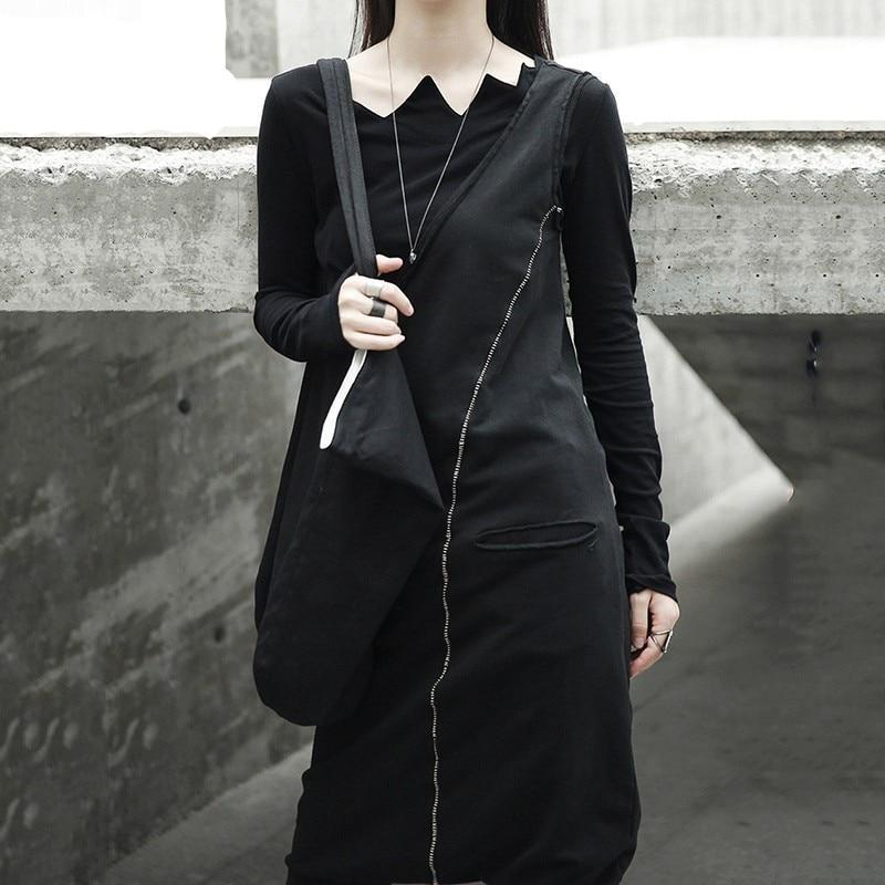 New Spring Black Tide Wild Asymmetry Slim Ankle-length Pants Double Pocket Jumpsuits
