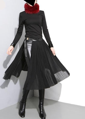 New High Waist Solid Color Black Pleated Loose Split Joint Half-body Skirt