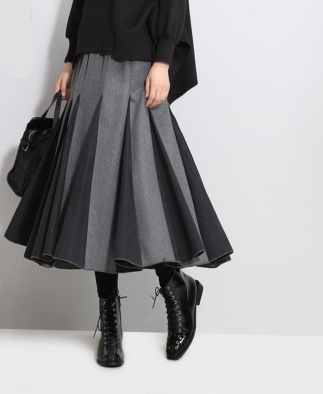 New High Waist Solid Color Black White Split Joint Loose Pleated Half-body Skirt