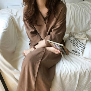 Tide Turn Down Collar Long Sleeve Simple All-match Woman Long Shirt